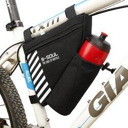 B-SOUL Водонепроницаемый велосипед треугольная сумка для велосипеда передняя рама сумка Велоспорт Топ труба сумка бутылка воды велосипедная ...