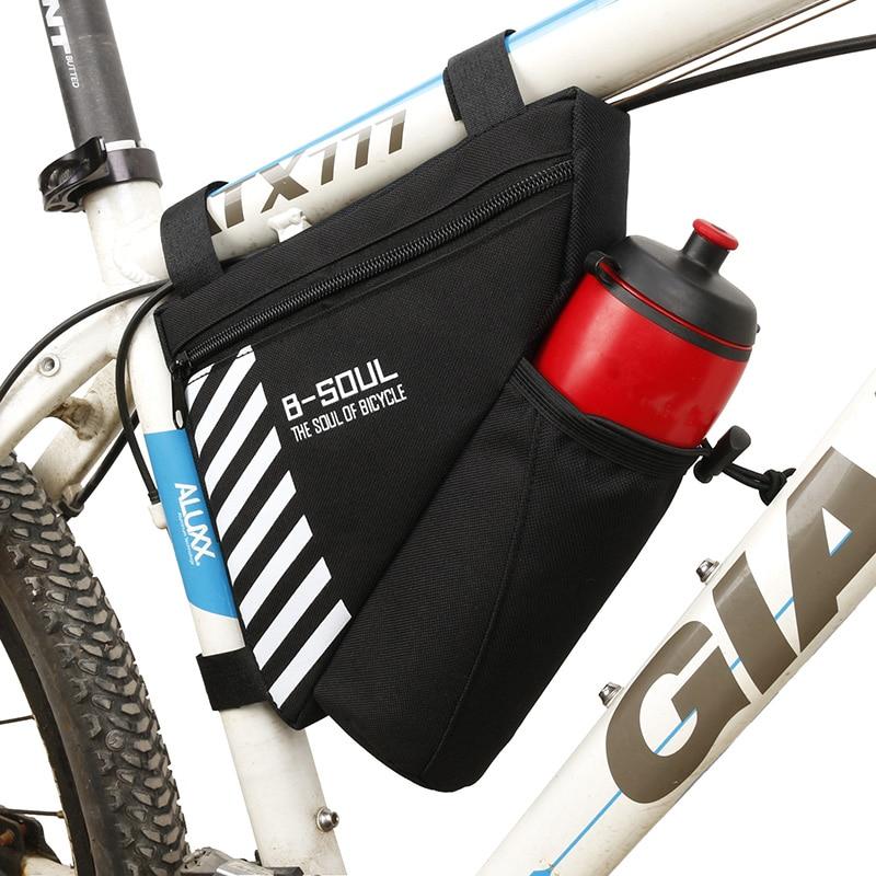 B-SOUL 5Colors velosipēdu trīsstūra maiss velosipēdu priekšējā rāmja maisiņam Velosipēdu augšējā caurules soma ar ūdens pudeles kabatas velosipēdu aksesuāri