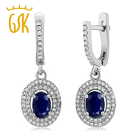 2 86 Ct Oval Natural Blue Sapphire 925 Sterling Silver Earrings