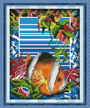 Clownfish cross stitch kit stitching DMC color thread mini picture fish in sea paintingt embroidery DIY handmade needlework plus(China)