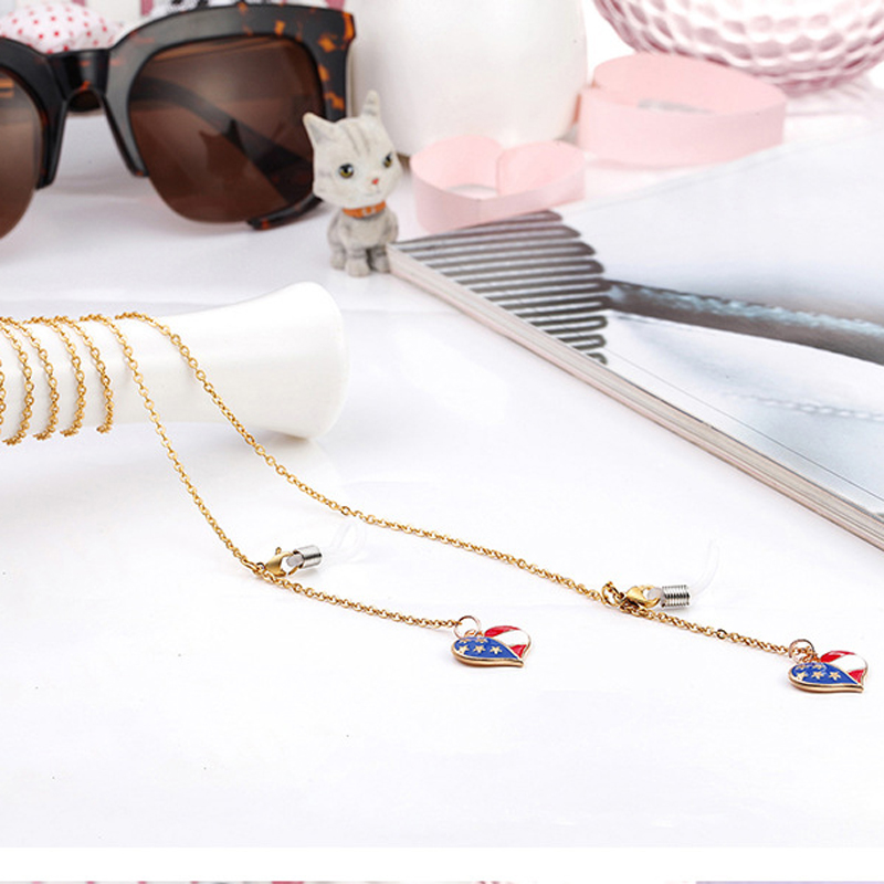 2 styles of flag and love reading glasses glasses chain 78cm lanyard sunglasses glasses chain YJS0062 & chains for glasses SS72
