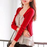 Free Shipping New Women Korean Spring Autumn Sweater Cardigan Women Slim Waist Round Neck Short Paragraph