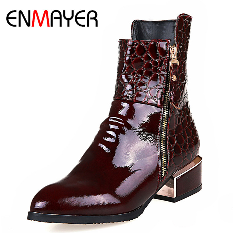 ENMAYER Square Heels Shoes Woman Pointed Toe Women Boots Plus Size 34-42 Ankle Boots for Women Motorcycle Boots Shoe Zippers enmayer high heels charms shoes woman classic black shoes round toe platform zippers knee high boots for women motorcycle boots