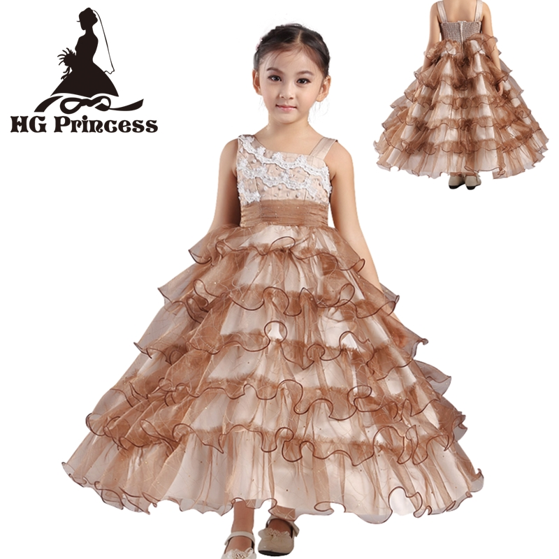 Free Shipping Brand HG Princess 2018 New Arrival Kids Ball Gowns 4T-12T Girl Party Dresses Coffee Formal Children Dress Factory free shipping 10pcs as19 hg as19 tqfp48