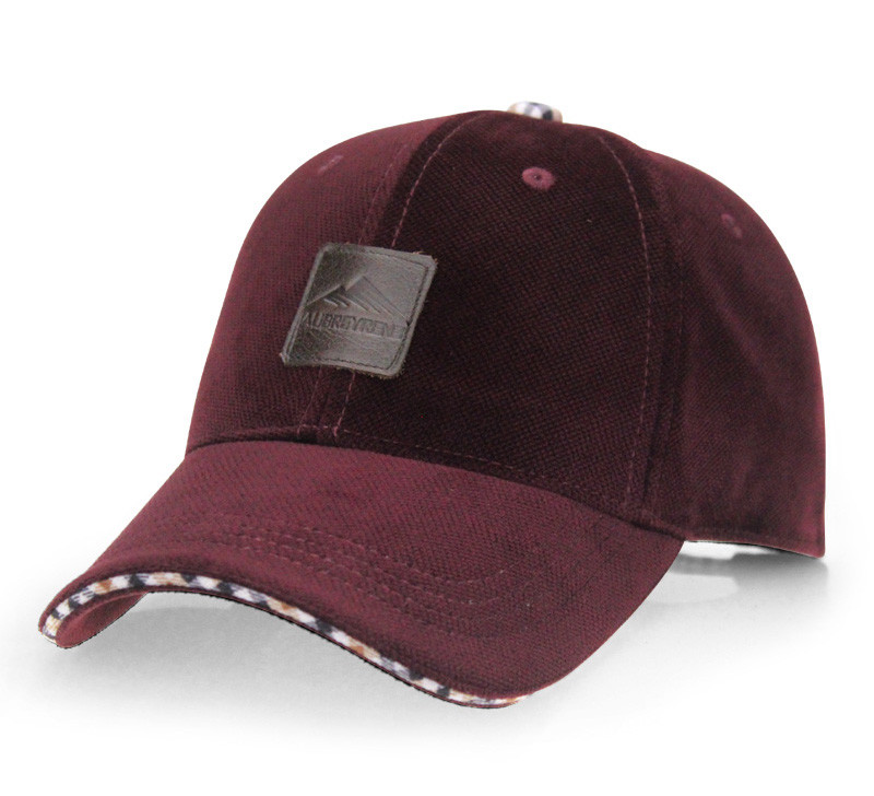 Brushed Cotton Baseball Cap - Wine Red Cap Front Angle View