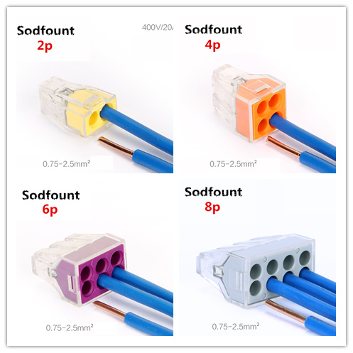 Sodfount 50pcs PCT-102/104/106/108 Push Wiring Connector For Junction Box 2/4/6/8