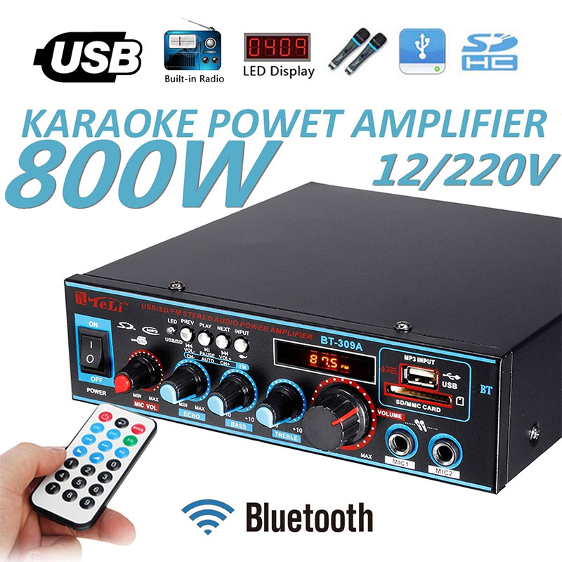 2CH <font><b>800W</b></font> <font><b>HIFI</b></font> Digital Bluetooth Audio Power <font><b>Amplifier</b></font> Built-in LCD Display with Remote Control Support Bluetooth FM USB SD Card image