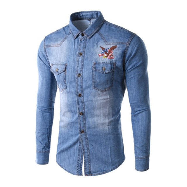Embroidered Denim Coat Autumn New 2015 Men Jacket Mens Eagle WSInIBFx