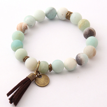 Free Shipping Fashion Natural Stone Energy Bracelets By 10mm Antique Bronze Tassel Beautiful Frosted Amazonite Bracelet bangle(China)