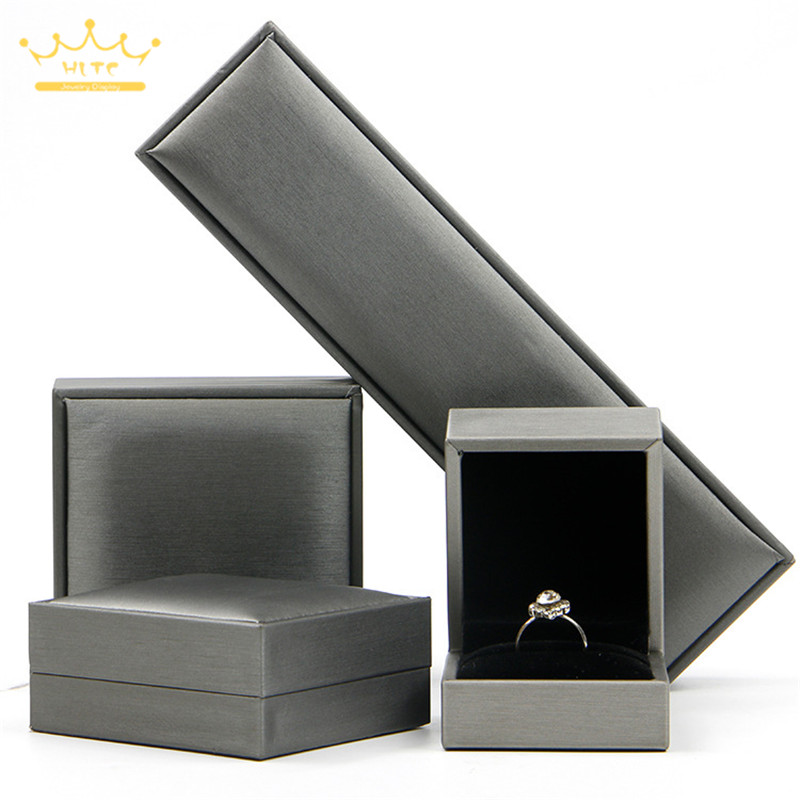 Grey Color High-grade Brushed PU Leather Jewelry Box Jewelry Box Ring Box Bracelet Bracelet Necklace Box