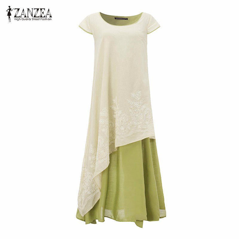 2017 ZANZEA Vintage Embroidery Floral Summer Short Sleeve Patchwork Kaftan Women Beach Party Maxi Long Dress