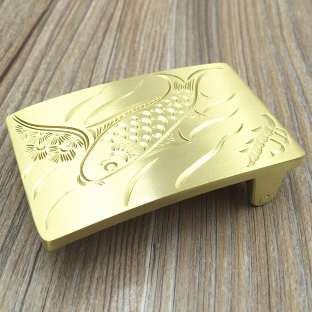 CUKUP New Cool Carving Fish Pattern Brass Belt Buckle 3.8cm Smooth Chinese Style Animal Zodiac Youth Wind Belt Buckle 1pBRK007