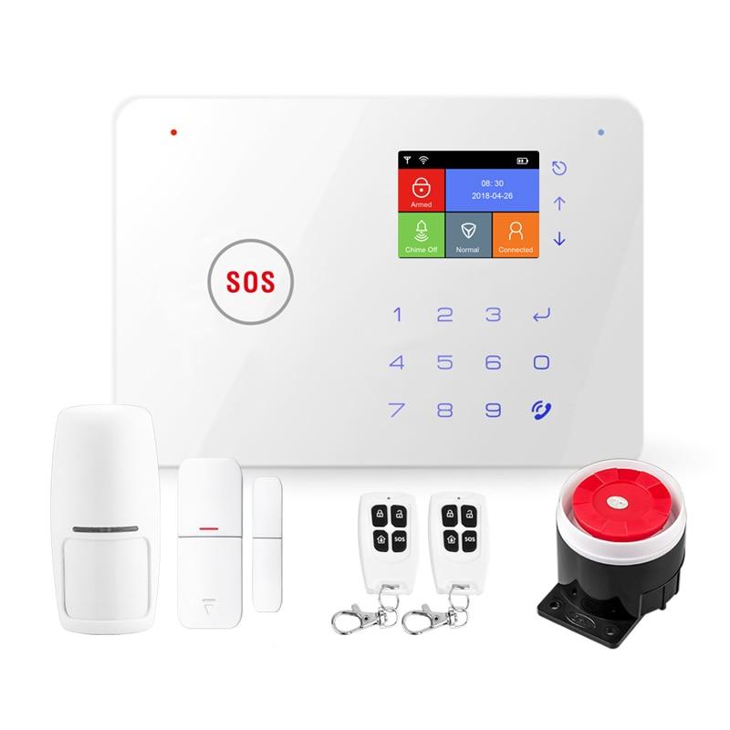 2.4 Inch TFT Screen WIFI GSM Home Burglar Alarm Kits Wireless Security Alarm System Motion Detector APP Control