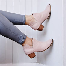 Women Faux Suede Boots Daily Heel Zip Shoes Breathable Female Comfortable Shoes Retro Spring PU Leather Pink Boots(China)