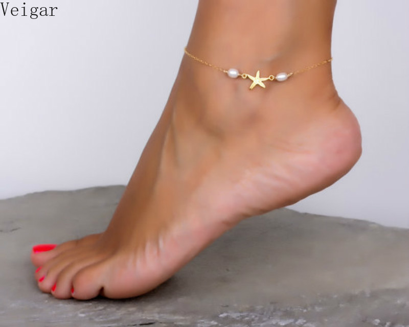 Starfish Shape Star Anklet Bracelet Pearl Beaded Ankle Bracelets for Women Foot Chain Body Jewelry Enkelbandje Chaine De Pied