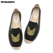 TINGHON Fashion Women Ladies Espadrille Shoes Canvas Embroidered Dog Rome Ankle Strap Hemps Flats