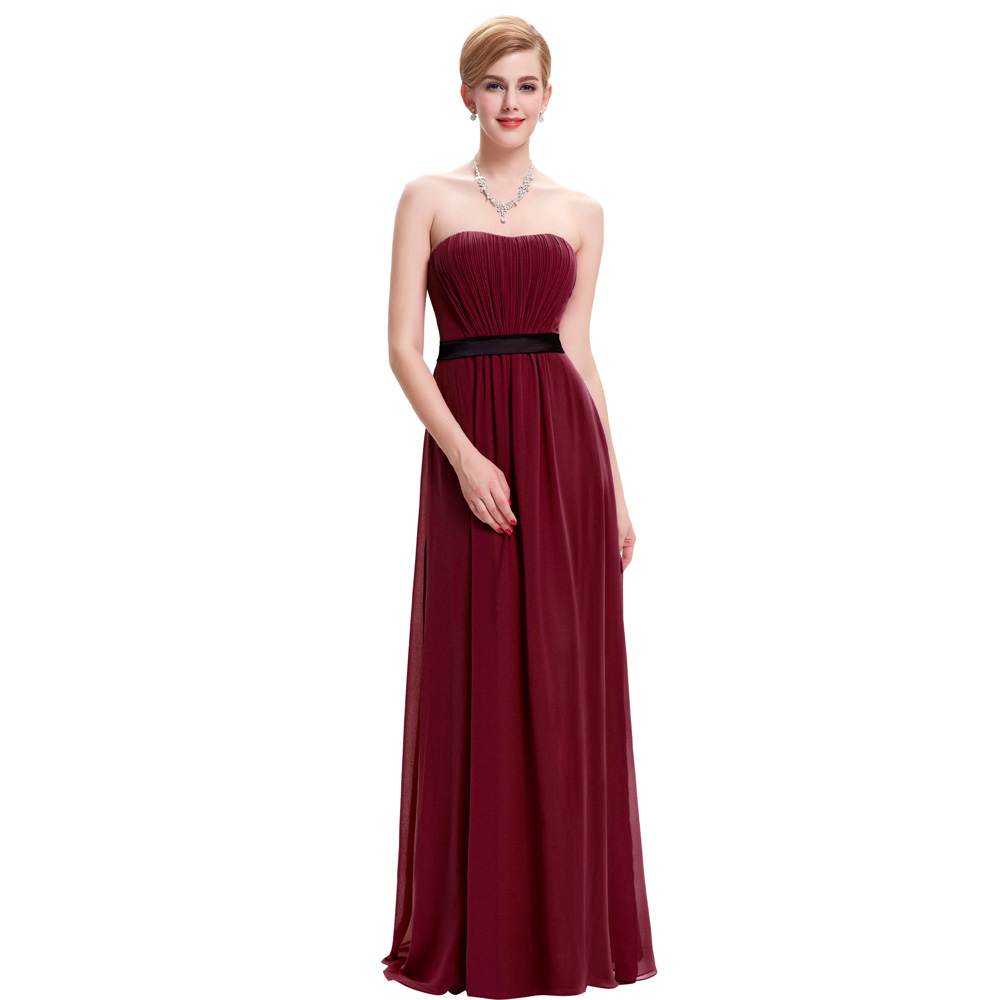 Burgundy bridesmaid dresses long wedding party dress for Long dresses for wedding party