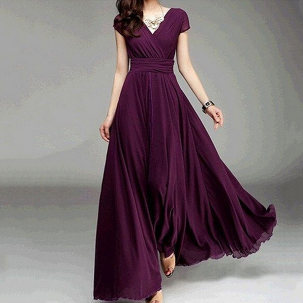 Women Dress V Neck Long Dresses Short Sleeves Chiffon Middle Waist Ruffled Slim Fit Female Evening Party Dresses GM
