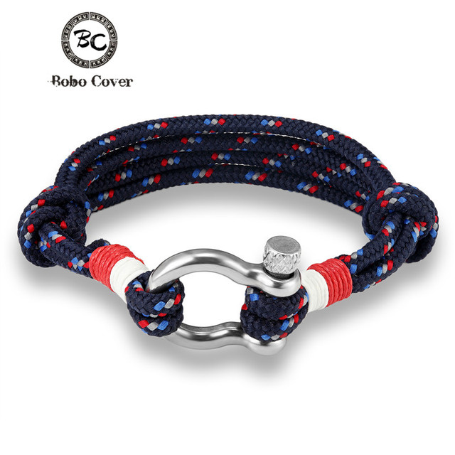 Bobo Cover Fashion Navy Style Stainless Steel Survival Bracelets Men Sport Anchor Bangle For