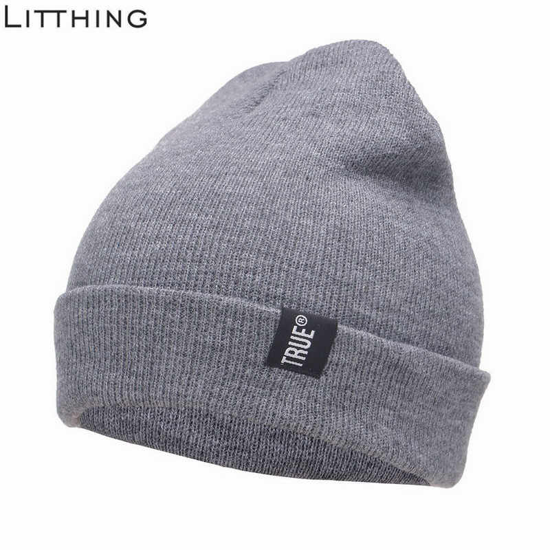 2e9257cabdc Letter True Casual Beanie Hat for Men Women Fashion Knitted Winter Hat  Hip-hop Skullies