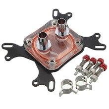 1 stücke cpu wasserkühlung block kühler 50mm chrome kupfer basis cool inner kanal für intel 775/1155/1156/1366/lga 1150/bin