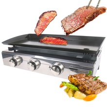 ITOP Heavy Duty 3 Burners BBQ Grill Machine Gas Plancha Griddle For Outdoor Barbecue Tools Hot Iron Cooking Plate With Tray