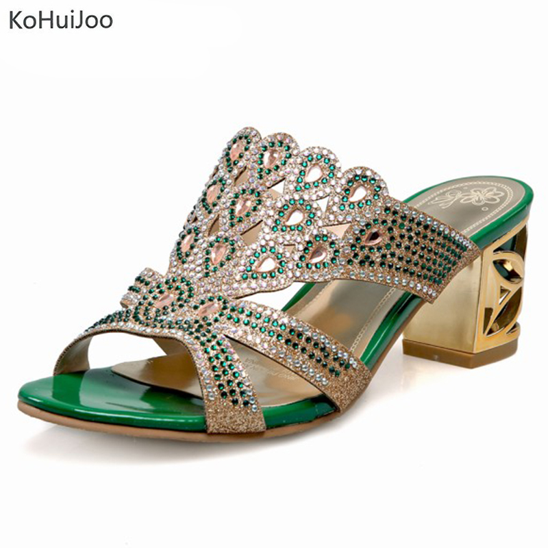 KoHuiJoo New Women Summer Fashion Fretwork Upper Slippers Sexy Hollow Out Square High Heels Sandals Party Shoes Woman Flip FlopsKoHuiJoo New Women Summer Fashion Fretwork Upper Slippers Sexy Hollow Out Square High Heels Sandals Party Shoes Woman Flip Flops