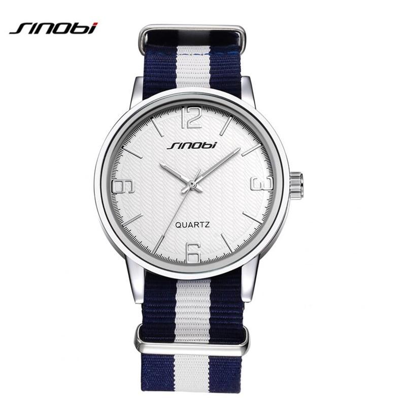 SINOBI Watches Men Fashion Sports Watch Luxury Brand Nylon Strap Casual Watch Wristwatch Relogio Masculino Male Clocks AB2146