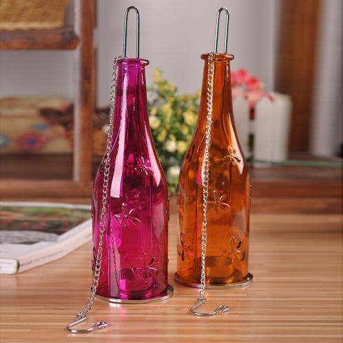 Free Shipping Creative Glass Bottle Design Candlestick Candle