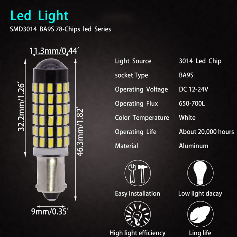 TUINCYN 2pcs LED Signal Light BA9S 3014 78SMD 78W High Power 12V/24 Lens Turn Signal Back Up Reverse Tail Brake LED Light