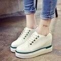 Hot-Selling !Black+White Women PU Shoes Woman Fashion Hidden Wedge Heel Lace Up Casual Shoes