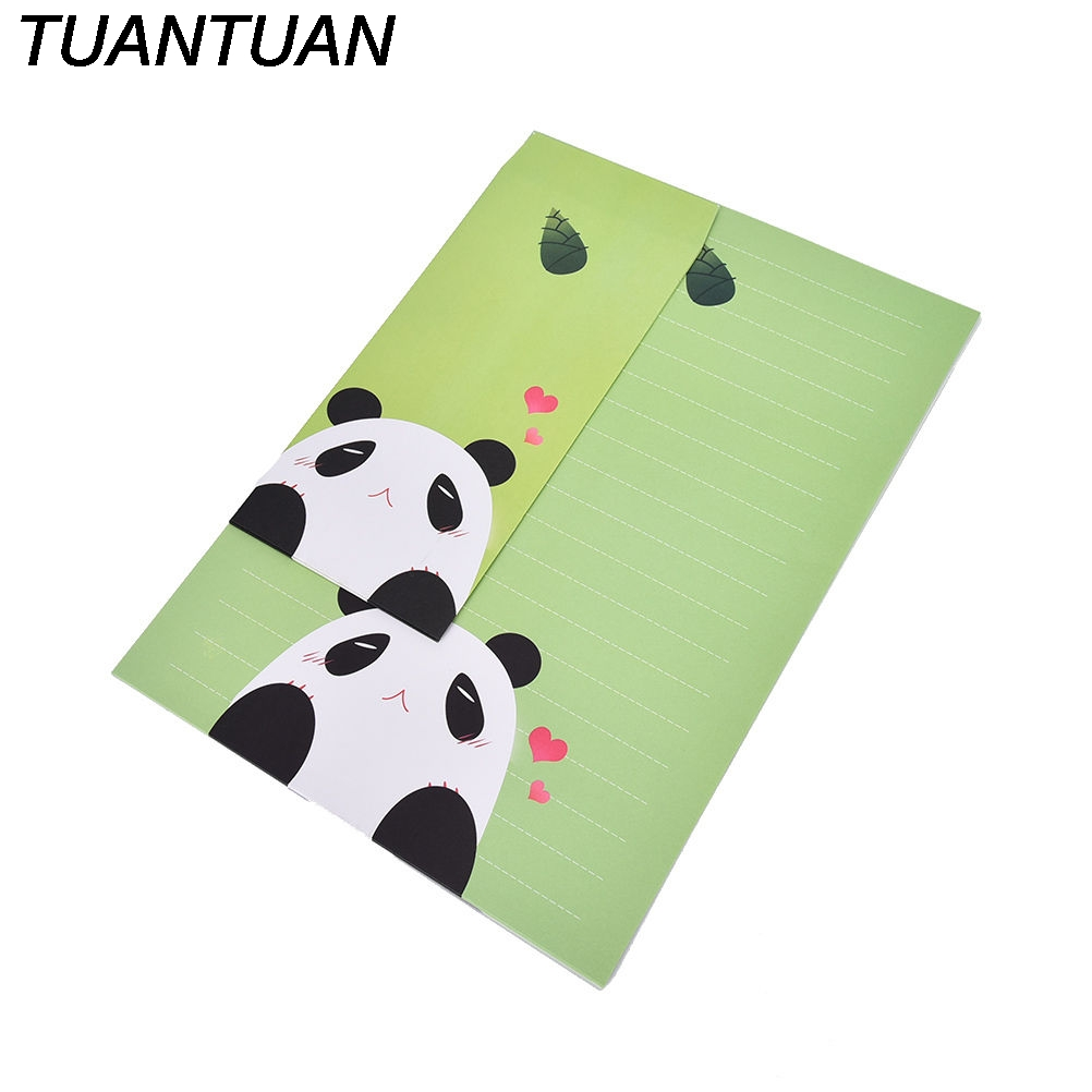 TUANTUAN 6sheets Writing Paper +3sheets Creative Vintage Animal Rabbit Bear Design Multifunction Kraft Paper Tag Letter Envelope