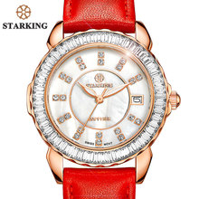 STARKING Brand Women Real Imports Quartz Watch Fashion Ladies Red Clock Casual Diamond Leather Strap Vintage