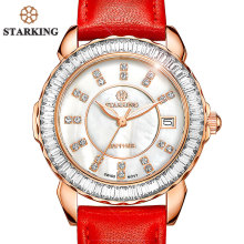 STARKING Brand Women Swiss Imports Quartz Watch Fashion Ladies Red Clock Casual Diamond Leather Strap Vintage Wrist Watch BL0863