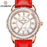 STARKING Brand Women Quartz Watch Fashion Ladies Red Casual Diamond Leather Strap Vintage Wrist Watch BL00863