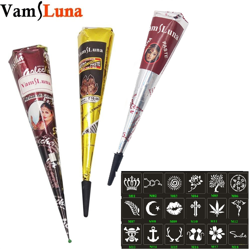 Indian Henna Cones Red Brown Black Color 3 Piece + 18 Stencils 6 * 6cm Temporary Tatoo Kit Art Body Mehandi Ink For Body Paint