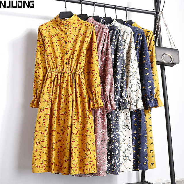 Corduroy High Elastic Waist Vintage Dress A line Style 2018 Winter Women Full Sleeve Floral Print