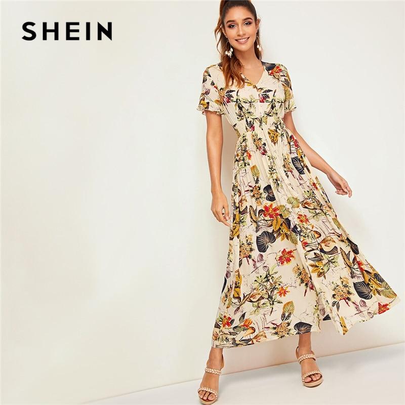 SHEIN Botanical Print Tropical Shirred Waist Button Front Dress 2019 Boho Women Apricot Ruffle Tie Front V Neck Summer Dress