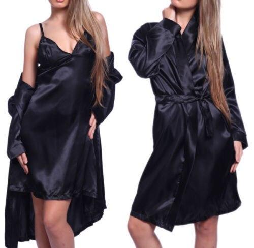 3PCS Sexy Silk Robes For Women Satin Bath Robe Sleepwear Nightwear Nightdress With G-String Pajamas New