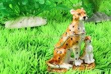 Tiger Bejeweled Trinket Jewelry Box Tiger Animal Figurine Crystal Tiger Cub Trinket Box Bejeweled Cute Tiger  Metal Jewelry Box