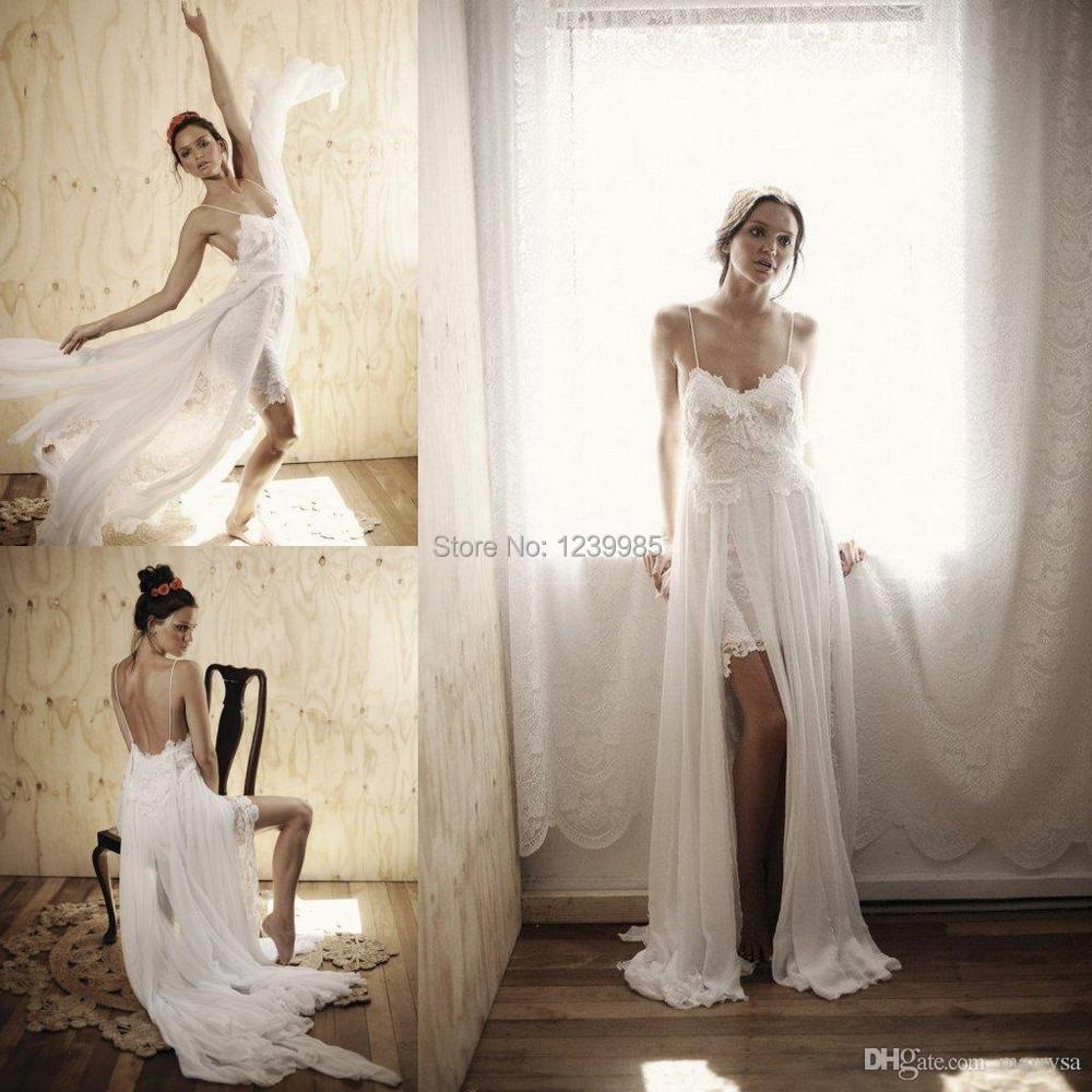 Greek Style Boho Bohemian Wedding Dresses Spaghetti Straps: RW007 Sexy Spaghetti Straps Open Back Boho Beach Wedding