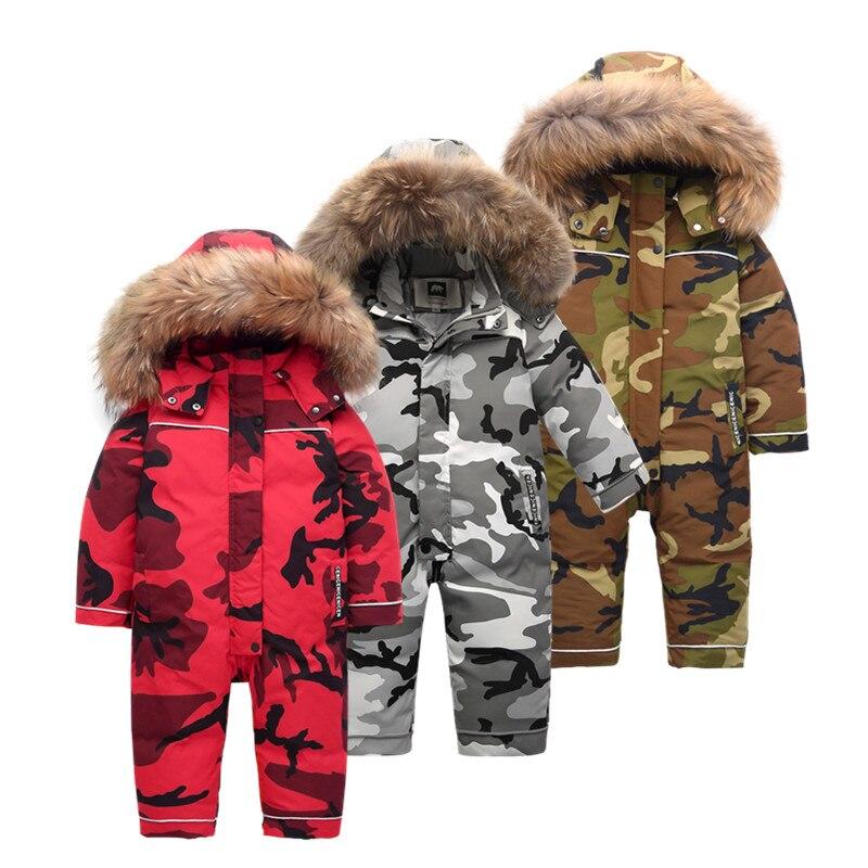 Brand -30 degree russian winter jumpsuit Camouflage Coats Children snow wear thicken down Boys Winter Jacket childrens clothing