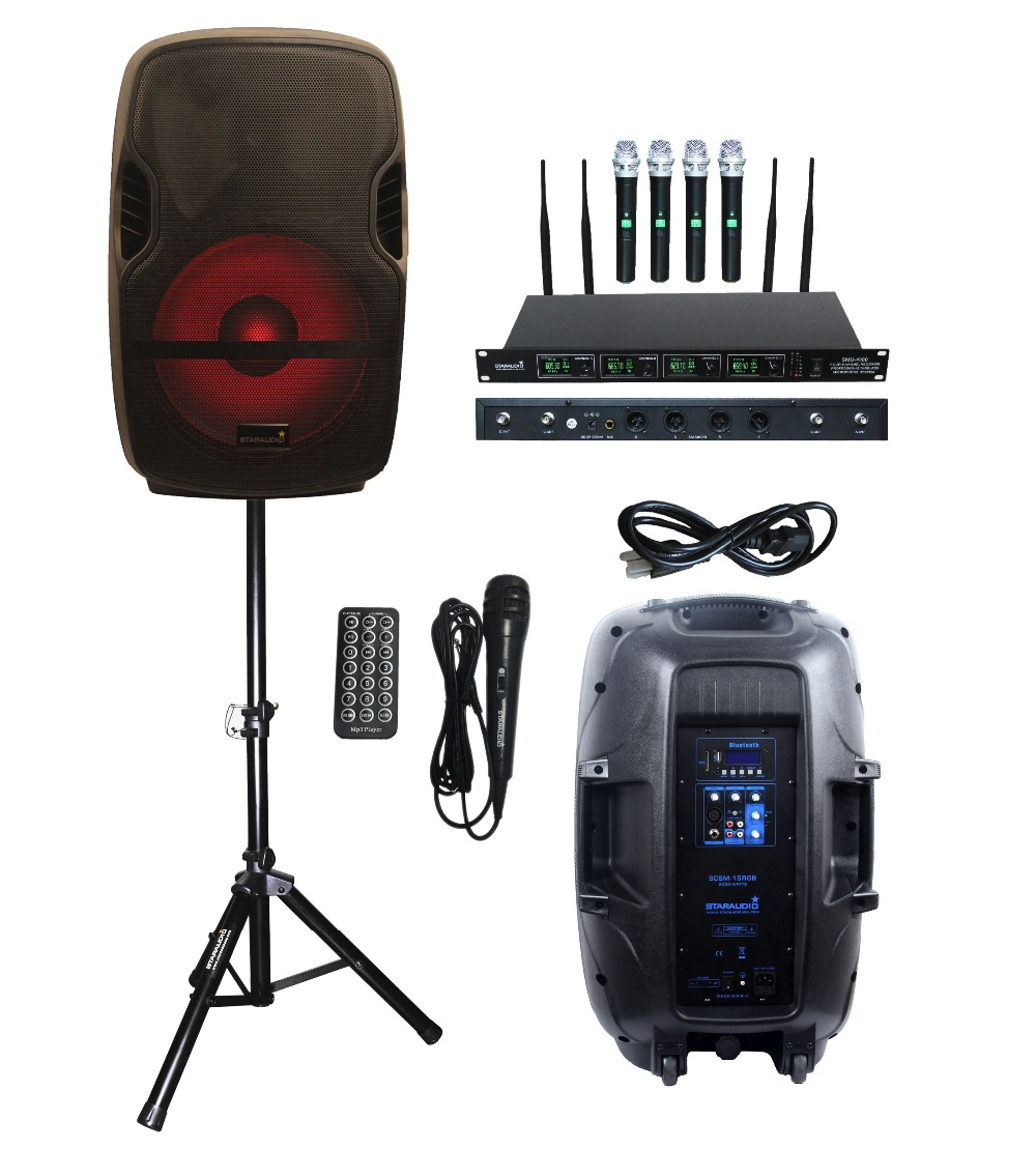 STARAUDIO 15inch 2000W SCSM-15RGB Portable PA DJ Stage Karaoke Powered Active BT SD MP3 USB Speaker With LED Light Stand 4CH MIC