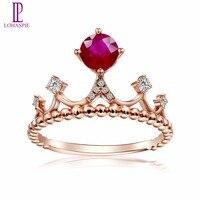Lohaspie природных драгоценных камней Рубин SOLID 18 К Роза Crown Обручение кольца золото алмаз Jewelry 2017 онлайн Best купить подарок новый