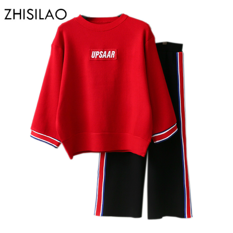 ZHISILAO 2018 Tracksuit Woman Winter Knitted Sweater Woman Pants Warm Solid Two Piece Set Woman Suit