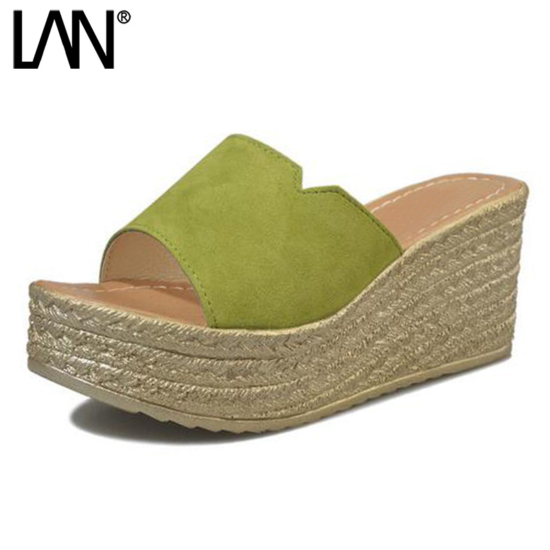 LANSHULAN 2017 Summer Women Slippers Peep Toe Faux Suede Wedge Women Slides Platform Sandals High Heels Casual Simple Shoes lanshulan wedges gladiator sandals 2017 summer peep toe platform slippers casual glitters shoes woman slip on flats creepers