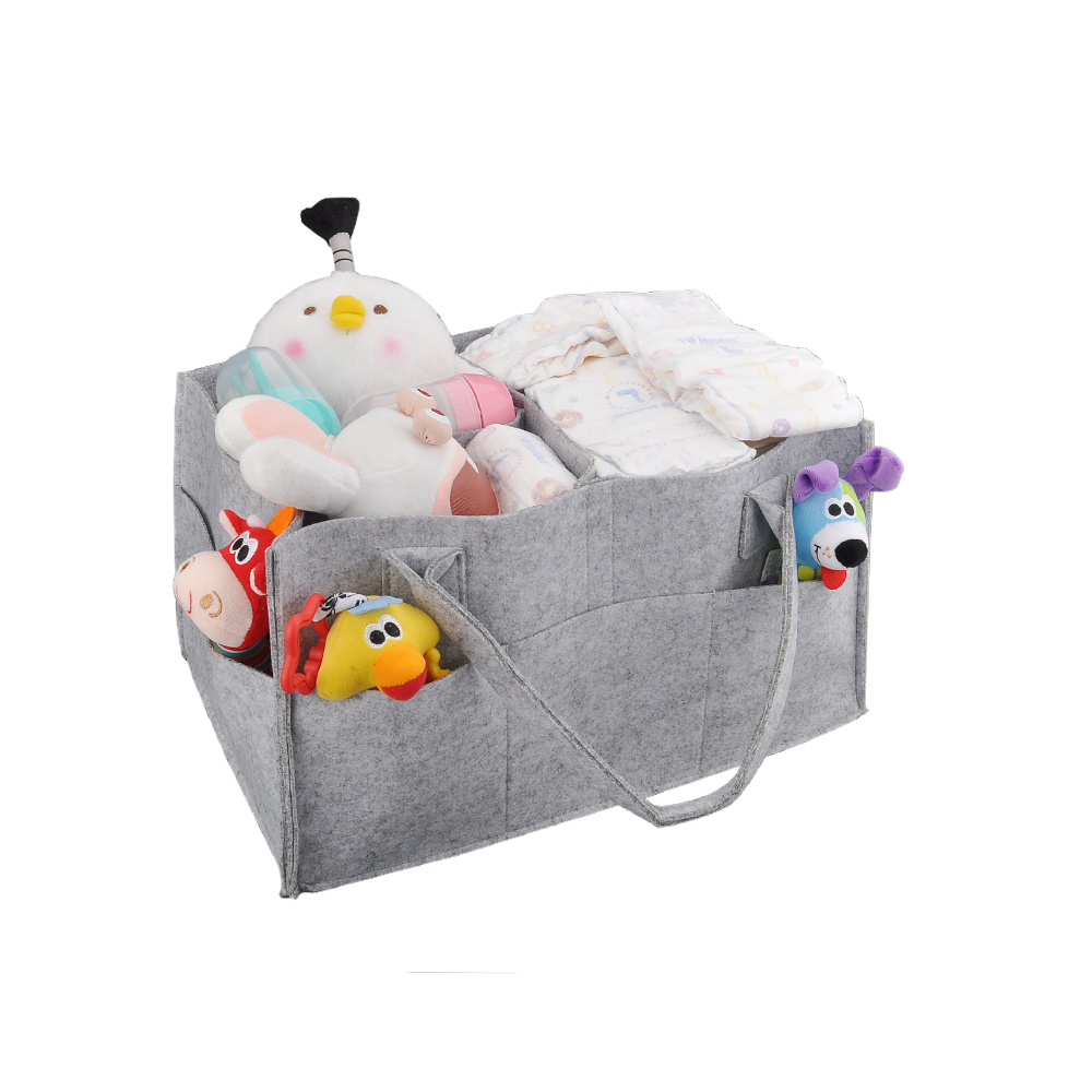 Foldable Felt Storage Bag Baby Diaper Caddy Organizer Nursery Storage Bag for Diapers Wipes & Baby Gift bag