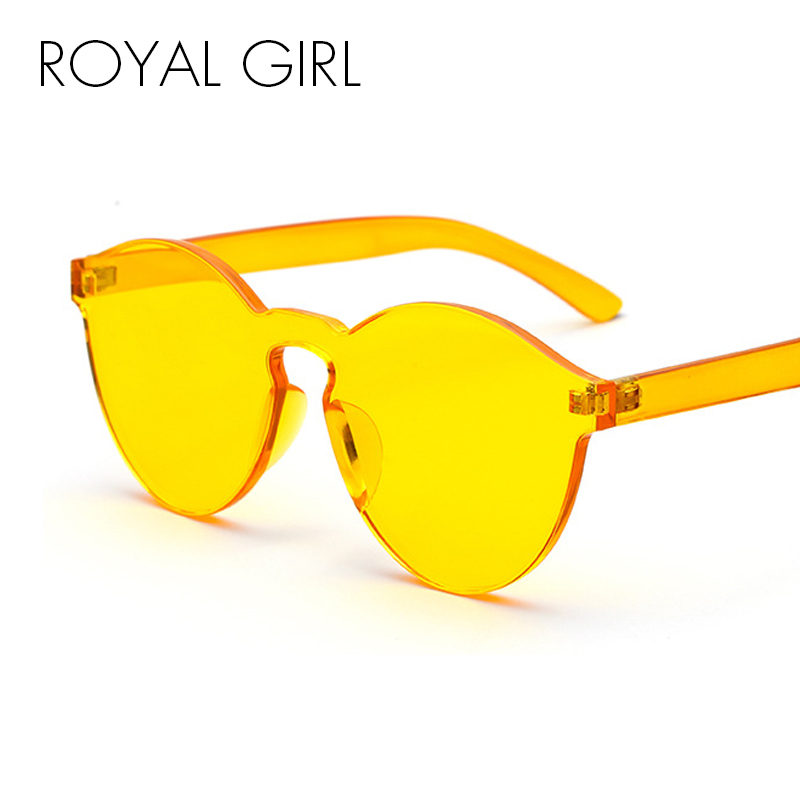 ROYAL GIRL Round Transparent Plastic Frame Sunglasses 2018 Women Men Brand Designer Candy Color Clear Lens Sun Glasses ss297