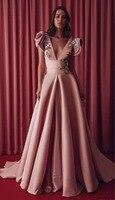 Красное платье с v образным вырезом для выпускного вечера