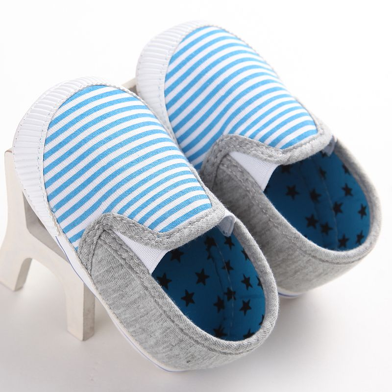 2018 Spring Summer Newborn Infant Baby Girl Shoes Baby Boy Shoe Casual Cotton Striped Shoes First Walkers 0-18M